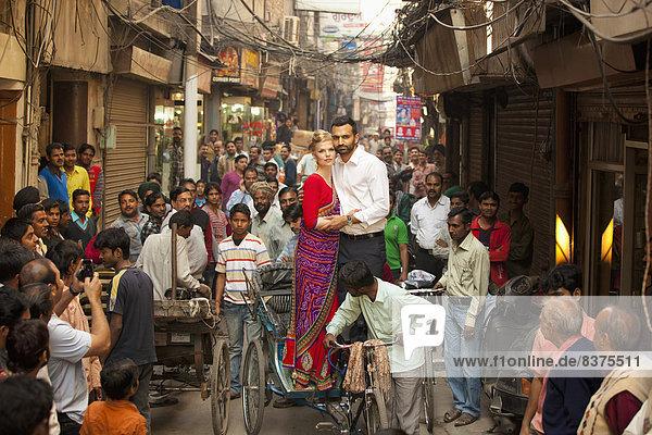 stehend  Pose  Indien  Punjab  Rikscha
