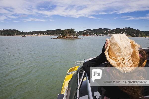 halten  Hut  Boot  Kreuzfahrtschiff  Mädchen  Cowboy  Neuseeland  Russell