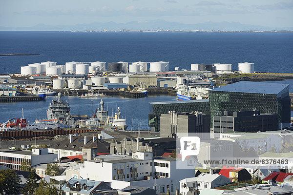 Reykjavik Hauptstadt über Ansicht Harpa Island