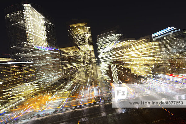 Motion Blur Of City Lights Downtown At Night  Calgary  Alberta  Canada