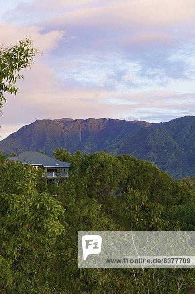 A house with a view at sunset Wailua  Kauai  Hawaii  United States of America