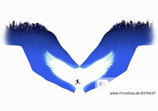 Helfende Hände bilden eine weiße Taube für springenden Mann Helfende Hände bilden eine weiße Taube für springenden Mann