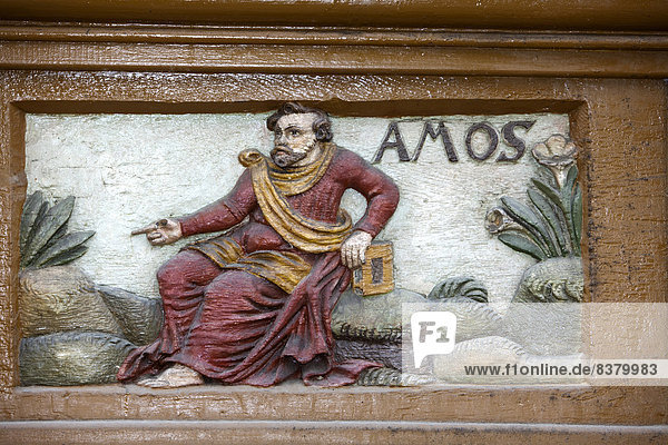 The prophet Amos  wood carving  Alte Lateinschule Alfeld building  Alfeld  Lower Saxony  Germany