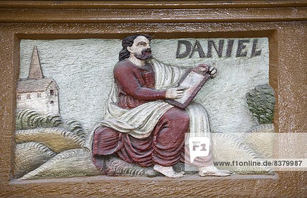 The prophet Daniel  wood carving  Alte Lateinschule Alfeld building  Alfeld  Lower Saxony  Germany