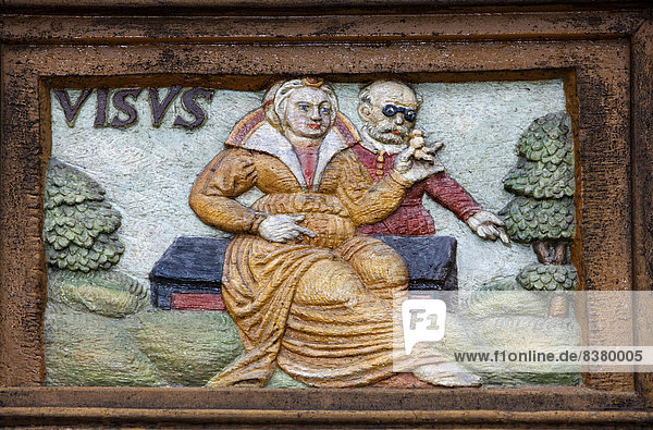 Visus  Latin for sight or vision  wood carving  Alte Lateinschule Alfeld building  Alfeld  Lower Saxony  Germany