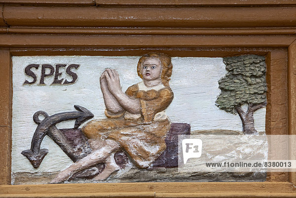 Spes  Latin for hope  wood carving  Alte Lateinschule Alfeld building  Alfeld  Lower Saxony  Germany
