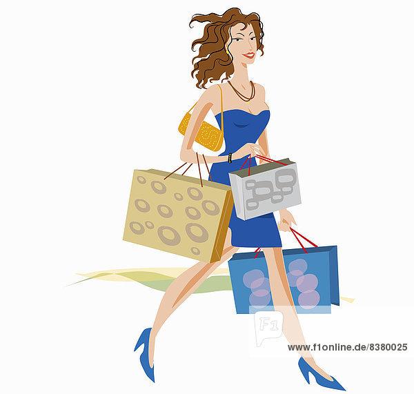 Glamouröse Frau mit vielen Einkaufstaschen
