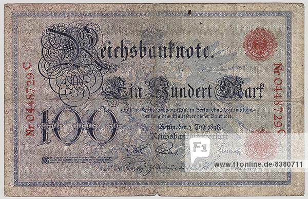 Alter Geldschein  100 Mark  Vorderseite  Reichsbanknote 1898