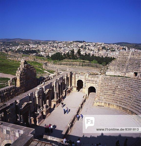 Ancient Roman Oval Forum  Jerash  Decapolis  Jordan