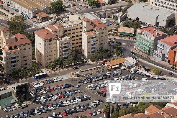 hoch  oben  Felsbrocken  Europa  Großstadt  parken  Ansicht  Flachwinkelansicht  Winkel  Gibraltar