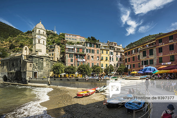 Fischereihafen Fischerhafen Cinque Terre Italien Ligurien Vernazza Provinz La Spezia