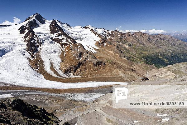 Richterweg  Weißkugel  unten das Langtauferer Tal  Südtirol  Italien