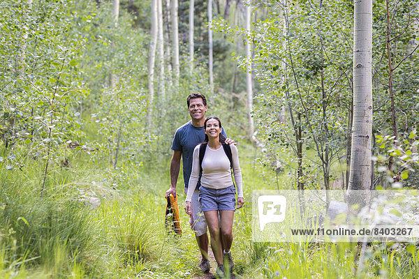 Zusammenhalt  gehen  Wald