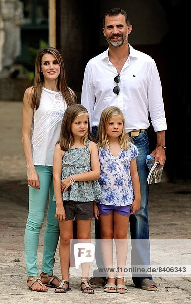 The Princes of Spain  Felipe and Letizia visit a farm with their daughters Leonor and Sofia.
