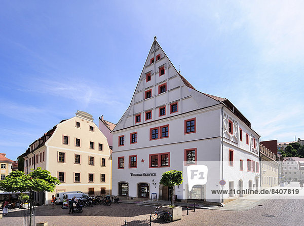 Germany  Saxony  Pirna  Market square with Canalettohaus