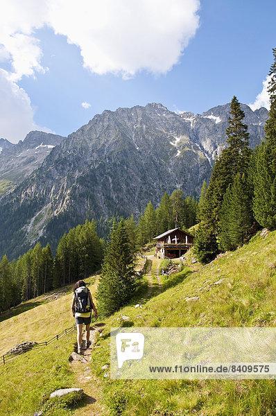 Italien  Südtirol  Pustertal  Antholz-Obertal  Staller Sattel  Frauenwandern auf der Steinzgeralm