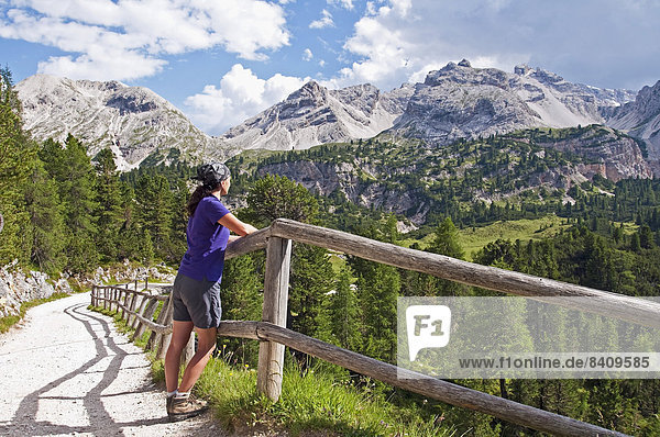 Italy  South Tyrol  Dolomites  Fanes-Sennes-Prags Nature Park  hiker looking at view
