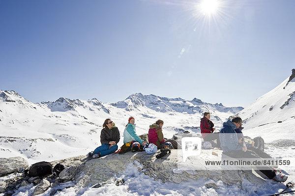 Ski walking taking a break  snowy mountain landscape  Tignes  Val-d?Isère  Département Savoie  Alps  France