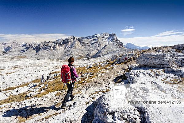Bergsteiger beim Abstieg über den Heiligkreuzkofelsteig vom Heiligkreuzkofel in der Fanesgruppe im Naturpark Fanes-Sennes-Prags  hinten der Piz de Lavarela  Alta Badia  Dolomiten  Südtirol  Italien