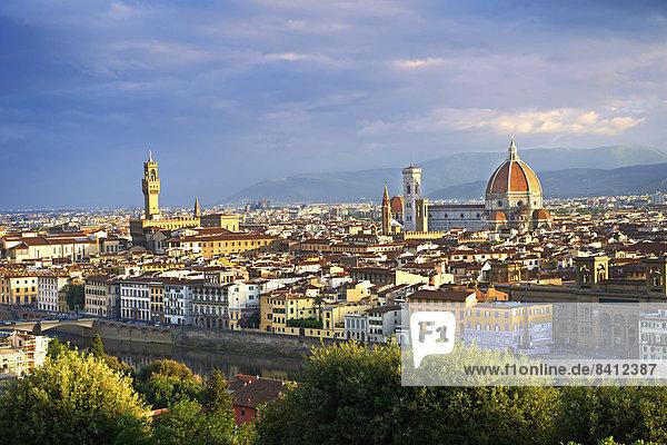 Stadtansicht mit dem Palazzo Vecchio und der Kathedrale von Florenz  Florenz  Italien
