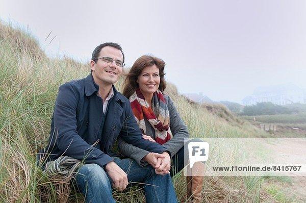 Paarbeobachtung von der Sanddüne  Thurlestone  Devon  UK