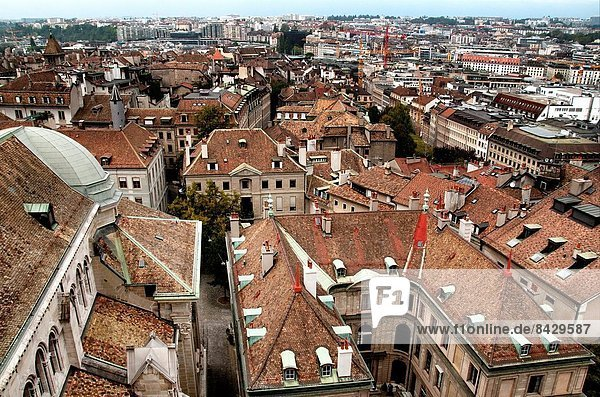 aerial view for old town of Geneva from Saint Pierre Cathedral tower  Geneva  Switzerland.