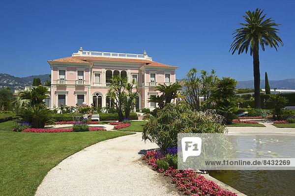 Außenaufnahme Sehenswürdigkeit Frankreich Europa Tag Wohnhaus Gebäude Ziel Architektur Wahrzeichen Garten Gartenbau Cote d Azur Villa