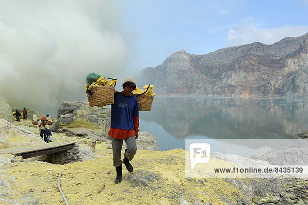 Asia  Indonesia  Java  Ijen  sulphur  sulfur  volcano  volcanism  volcanical  crater  crater lake  worker  minerals  industry  work  job  injurious