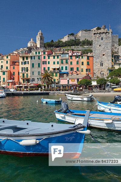 Europa Küste Boot Meer Dorf UNESCO-Welterbe Italien Portovenere