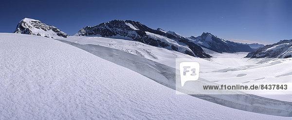 Panorama Europa Berg Eis Gletscher Bern Schweiz Aletschgletscher