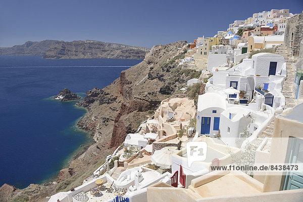 Europa Reise Ziel Meer Architektur Vulkan Insel Griechenland Santorin Krater Kykladen griechisch Oia Ia Thira