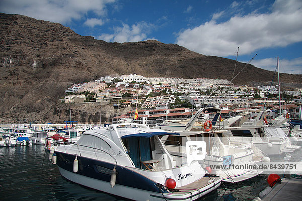 Spain  Europe  Canary islands  Tenerife  Los Gigantes  village  rock  cliff  volcanical  harbour  port  boats  tourism
