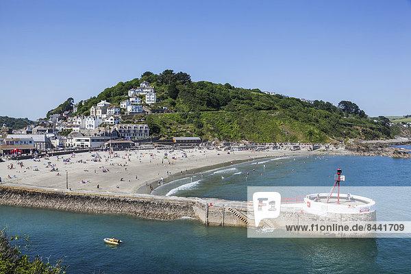 Europa  Strand  britisch  Großbritannien  Tourist  Kai  Urlaub  baden  Cornwall  England  Tourismus