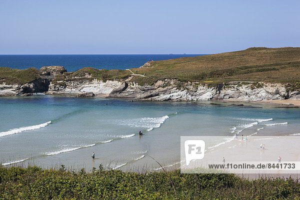 Wasser  Europa  Strand  britisch  Großbritannien  Wasserwelle  Welle  Meer  Urlaub  Cornwall  England