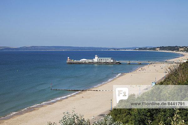 Europa  Strand  britisch  Großbritannien  Küste  Meer  Kai  Urlaub  Bournemouth  Dorset  England