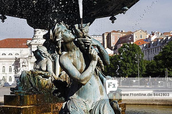 Portugal  Lisboa  Baixa  Rossio  Praca Dom Pedro IV  Teil des Brunnens