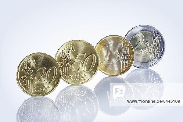 Euro-Münzen in Folge