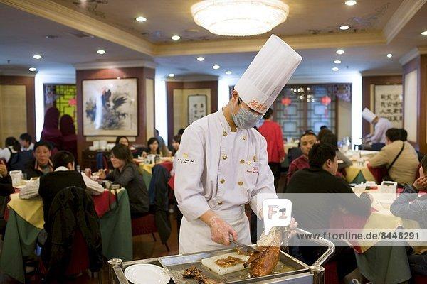 Peking Hauptstadt Vorbereitung Restaurant Braten China Köchin Ente