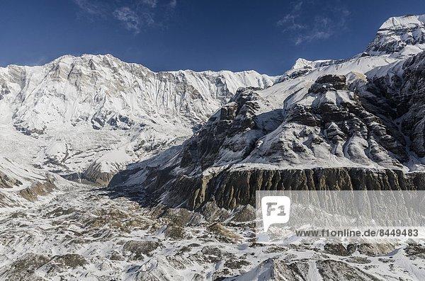 Gletscher  Himalaya  Moräne  Annapurna  Asien  Nepal  Süden