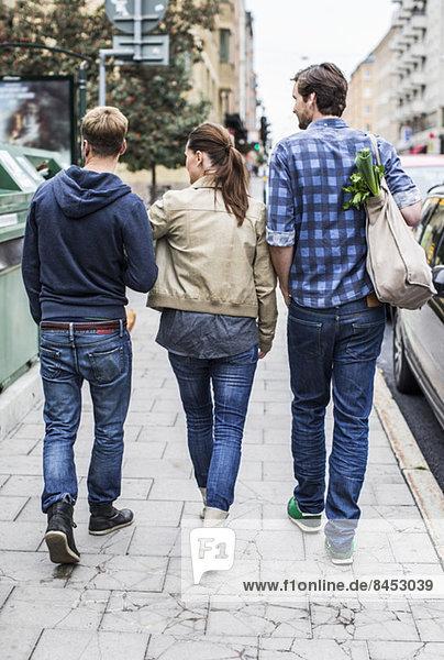 Rückansicht von Freunden  die zusammen auf dem Bürgersteig gehen