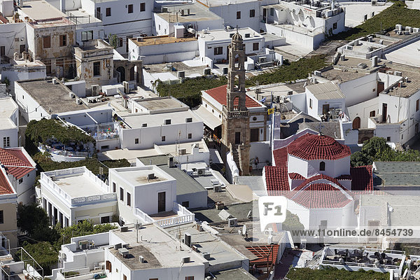 Roofs of the town of Lindos with Panagia Church  Rhodes  Dodecanese island  Greece