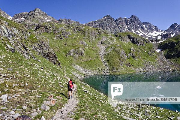 Bergsteiger beim Großen Schwarzsee  beim Aufstieg auf das Zuckerhütl  hinten die Schwarzwandscharte mit der Hofmannspitze  Südtirol  Italien
