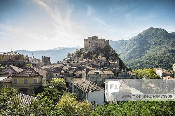 Medieval village with a castle in the mountains  Castelvecchio di Rocca Barbena  Savona Province  Liguria  Italy