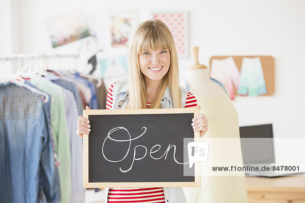 Portrait , offen , halten , Zeichen , Inhaber , Business , Signal