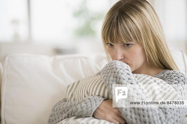 sitzend , Frau , Couch , denken