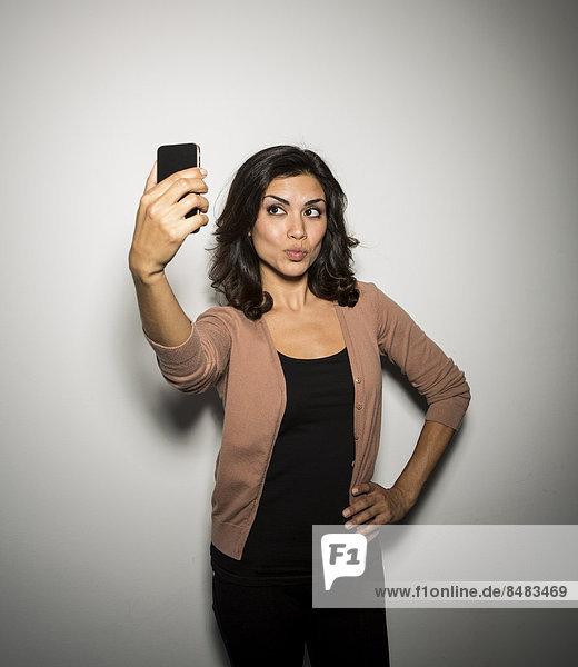Geschäftsfrau , Fotografie , nehmen , Telefon , mischen , Handy , Mixed