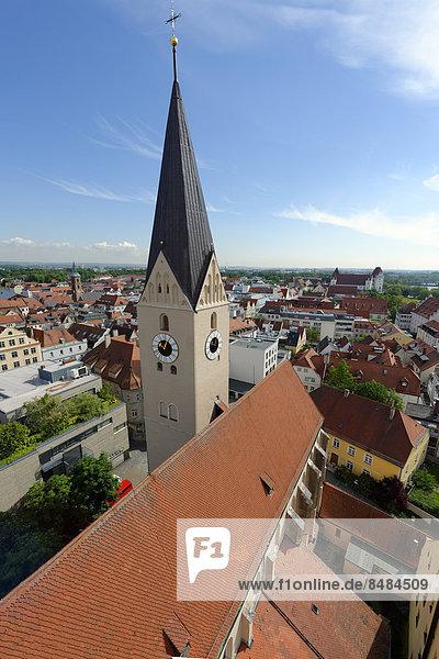 Moritzkirche  vom Pfeifturm  Ingolstadt  Oberbayern  Bayern  Deutschland