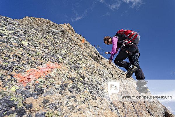 Bergsteiger beim Abstieg vom Wilden Freiger  hier am Gipfelgrat  S¸dtirol  Italien
