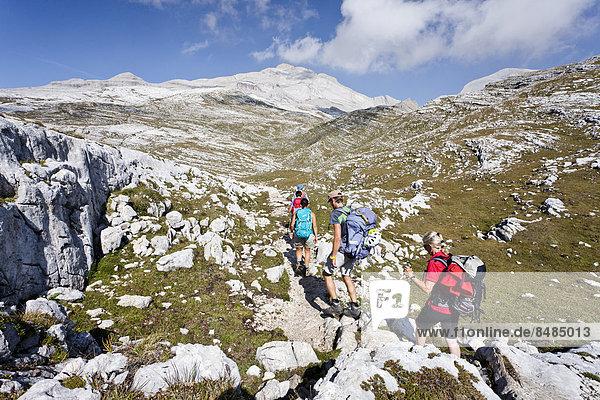 Bergsteiger beim Aufstieg auf den Piz de Lavarela in der Fanesgruppe im Naturpark Fanes-Sennes-Prags  hinten der Heiligkreuzkofel und der Zehner  Gadertal  Dolomiten  S¸dtirol  Italien