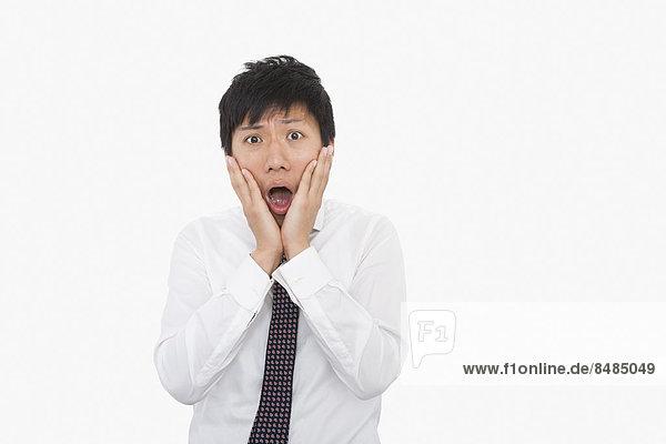 Geschäftsmann  über  weiß  Schock  Hintergrund  Mittelpunkt  Erwachsener